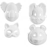 Masken - Sortiment, Weiß, H: 17-25 cm, B: 18-24 cm, 4x3 Stck./ 1 Pck.