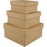 Pappschachtel-Set, viereckig, H: 5+6+7,5 cm, Größe 10+12,5+15 cm, 3 Stck./ 1 Set