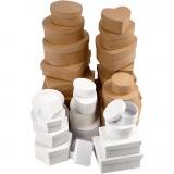Schachteln aus Pappe, Braun, Weiß, Größe 6,5-18 cm, 30 Stck./ 1 Set