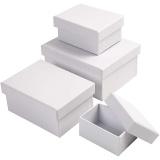 Rechteckige Boxen, Weiß, H: 3,5+4,5+5,5+6,5 cm, Größe 8,5x11,5+11x14 cm, 4 Stck./ 1 Set