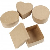 Mittelgroße Schachteln, H: 5 cm, D: 10-12 cm, 4 Stck./ 1 Pck.