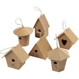 Mini-Vogelhäuser, H: 7 cm, 6 Stck./ 1 Pck.