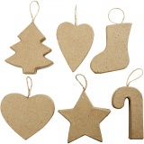 Anhänger für Weihnachten, H: 7+8 cm, 6 Stck./ 1 Pck.