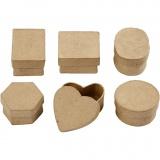 Mini Schachteln, H: 3 cm, D: 4-6 cm, 6 Stck./ 1 Pck.