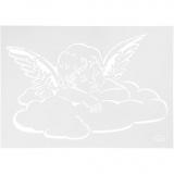 Schablone, Engel auf Wolke, A4, 210x297 mm, 1 Stck.