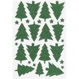 Glitzer-Sticker, Grün, Weihnachtsbäume, 12x18,5 cm, 1 Bl.