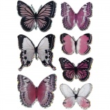 3D-Sticker, Flieder, Schmetterling, Größe 28-45 mm, 7 Stck./ 1 Pck.