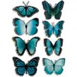3D-Sticker, Blau, Schmetterling, Größe 20-35 mm, 8 Stck./ 1 Pck.