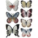 3D-Sticker, Sortierte Farben, Schmetterling, Größe 26-48 mm, 7 Stck./ 1 Pck.