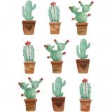 3D Sticker, Kaktusse, H: 45 mm, B: 15-26 mm, 9 Stck./ 1 Pck.