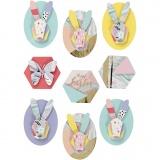 3D Sticker, Kaninchen, H: 30-45 mm, B: 32-35 mm, 9 Stck./ 1 Pck.