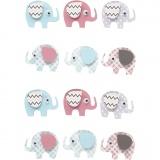 3D Sticker, Elefanten, H: 25 mm, B: 31 mm, 12 Stck./ 1 Pck.