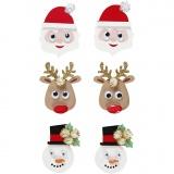 3D Sticker, Weihnachtsfiguren, H: 40-45 mm, B: 26-35 mm, 6 Stck./ 1 Pck.