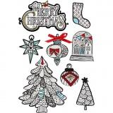 3D Sticker, Weihnachtliche Motive, H: 32-80 mm, B: 25-65 mm, 8 Stck./ 1 Pck.