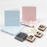 Karten- und Stempel-Set, Hellblau, Rosa, 1 Set