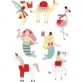 3D Sticker, Flamingo, Lama, Meerjungfrau, H: 50-60 mm, B: 30-45 mm, 7 Stck./ 1 Pck.