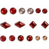 Deko-Nieten / Brads , Rot, Größe 8-18 mm, 16 Stck./ 1 Pck.