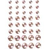 Strasssteine, Pink, Größe 6+8+10 mm, 40 Stck./ 1 Pck.