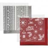 Dekofolie mit Transferblatt, Rot, Silber, Magische Weihnachten, 15x15 cm, 2x2 Bl./ 1 Pck.