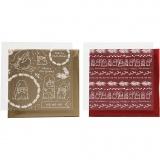 Dekofolie mit Transferblatt, Gold, Rot, Traditionelle Weihnachten, 15x15 cm, 2x2 Bl./ 1 Pck.