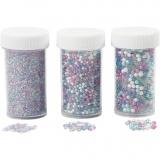 Mini Beads - Sortiment, Größe 0,6-0,8+1,5-2+3 mm, 3x45 g/ 1 Pck.