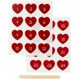 Rub-on Sticker, Rot, Adventkalender-Zahlen, H: 32 mm, B: 28 mm, 12,2x15,3 cm, 1 Pck