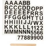 Rub-on Sticker, Schwarz, Buchstaben & Zahlen, H: 17 mm, 12,2x15,3 cm, 1 Pck.