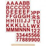 Rub-on Sticker, Rot, Buchstaben & Zahlen, H: 17 mm, 12,2x15,3 cm, 1 Pck