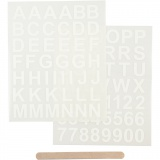 Rub-on Sticker, Weiß, Buchstaben & Zahlen, H: 17 mm, 12,2x15,3 cm, 1 Pck.