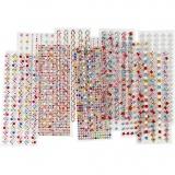 Strassstein-Sticker, D: 2-10 mm, 27x9 cm, Inhalt kann variieren , 12 Bl. sort./ 1 Pck.