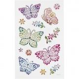 Diamant-Sticker, Schmetterlinge, 10x16 cm, 1 Bl.