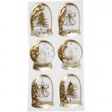 Schüttel-Sticker, Gold, Engel, Baum, Häuser, Größe 49x32+45x36 mm, 6 Stck./ 1 Pck.