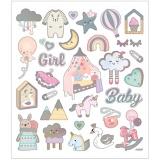 Sticker, Baby Girl, 15x16,5 cm, 1 Bl.