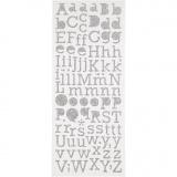 Glitzer-Sticker, Silber, Buchstaben, 10x24 cm, 2 Bl./ 1 Pck.
