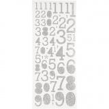 Glitzer-Sticker, Silber, Zahlen, 10x24 cm, 2 Bl./ 1 Pck.