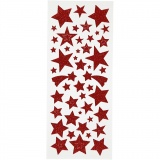 Glitzer-Sticker, Rot, Sterne, 10x24 cm, 2 Bl./ 1 Pck.