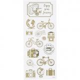 Sticker Thank you, Gold, Rund um die Welt, 10x24 cm, 1 Bl.