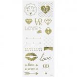 Sticker Thank you, Gold, Love, 10x24 cm, 1 Bl.