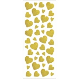 Glitzer-Sticker, Gold, Herzen, 10x24 cm, 2 Bl./ 1 Pck.