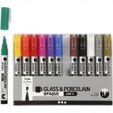 Glas-/Porzellanmalstift, Sortierte Farben, Strichstärke 1-2 mm, Halbdeckend, 12 Stck./ 1 Pck.