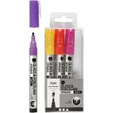 Glas-/Porzellanmalstift, Orange, Flieder, Rosa, Gelb, Strichstärke 1-2 mm, Halbdeckend, 4 Stck./ 1 Pck.