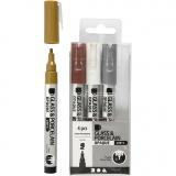 Glas-/Porzellanmalstift, Braun, Gold, Silber, Weiß, Strichstärke 1-2 mm, Halbdeckend, 4 Stck./ 1 Pck.
