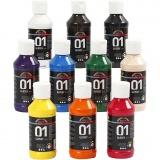 A-Color Acrylfarbe , Sortierte Farben, Glänzend, 10x100 ml/ 1 Pck.