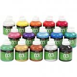 A-Color Acrylfarbe, Sortierte Farben, Metallisch , 15x500 ml/ 1 Box