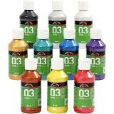 A-Color Acrylfarbe, Sortierte Farben, Metallisch , 10x120 ml/ 1 Pck.