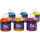 A-Color Acrylfarbe, Sortierte Farben, Glitter, 6x500 ml/ 1 Box