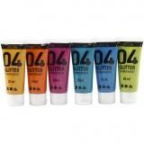 A-Color Acrylfarbe, Sortierte Farben, Glitter, 6x20 ml/ 1 Pck.