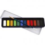 Aquarell-Farbset, Größe 12x30 mm, 12 Farbe/ 1 Pck.