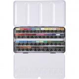 Art Aqua Aquarellfarbe, Sortierte Farben, Halbwannen, Größe 10x20 mm, 48 Farbe/ 1 Pck.