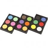 Wasserfarben im Set, Neonfarben, Zusätzliche Farben, H: 16 mm, D: 44 mm, 1 Set